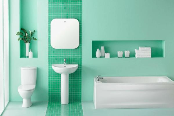 Fliesen bemalen Badezimmer renovieren Badfliesen Farbe