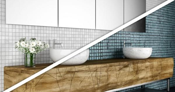 Fliesen bemalen Badezimmer renovieren Badfliesen streichen