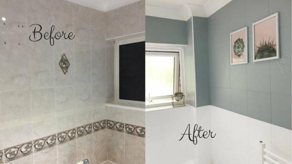 Fliesen bemalen Badezimmer renovieren vorher nachher