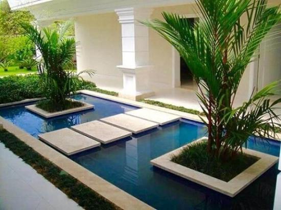 Gartengestaltung - Bäume und Schwimmbad