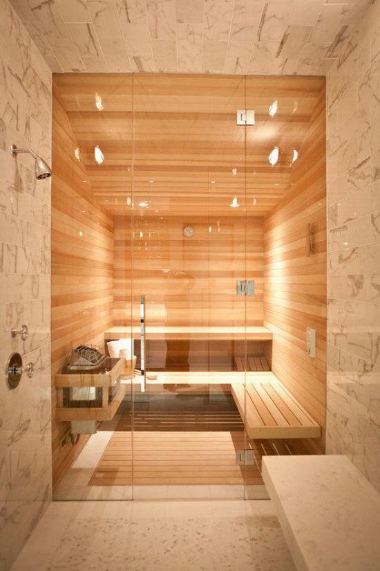 Heimsauna modernes Design passende Beleuchtung einladender Ort der Entspannung zuhause