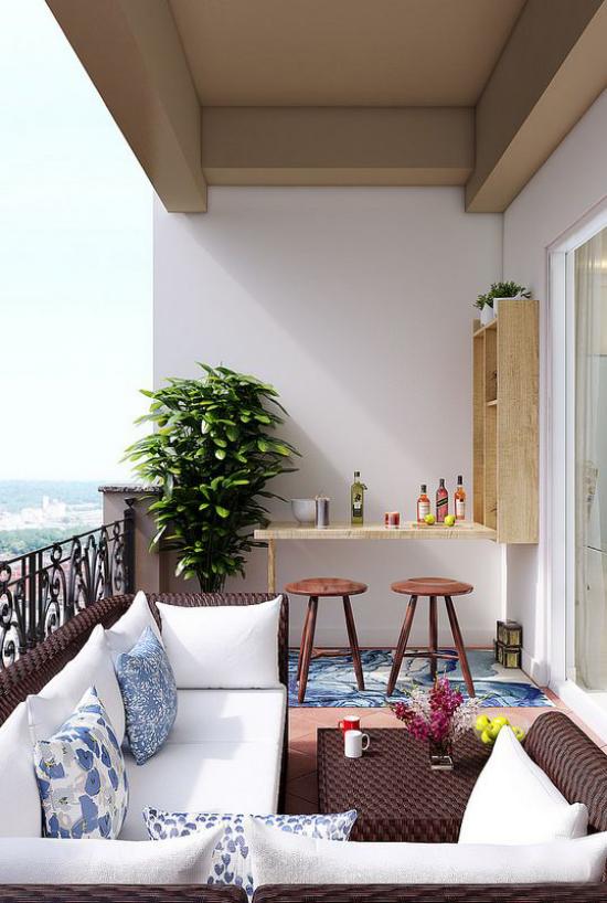 Klapptisch clevere Ideen für klappbare Möbelstücke Getränkebar auf dem Balkon clevere Lösung