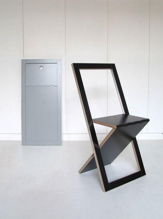 Klapptisch clevere Ideen für klappbare Möbelstücke Klappstuhl ganz einfaches Design dunkle Farbe
