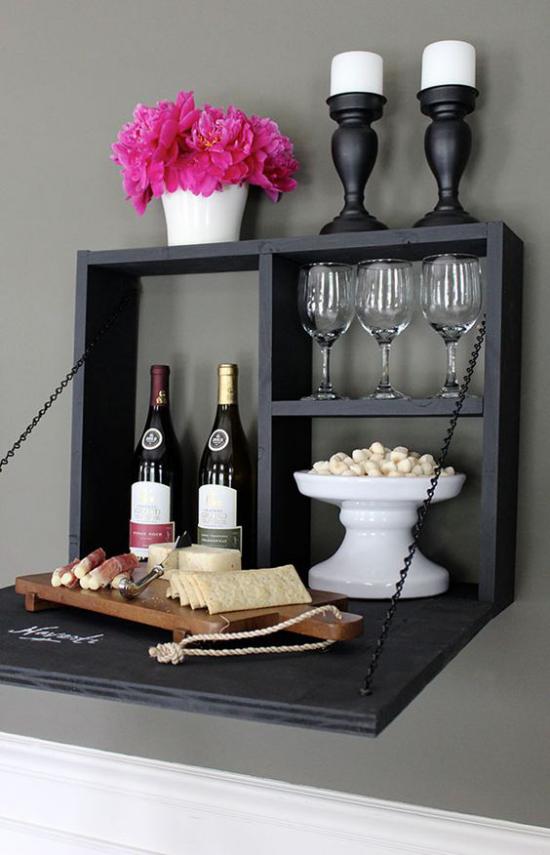 Klapptisch clevere Ideen für klappbare Möbelstücke Mini Bar