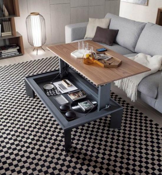 Klapptisch clevere Ideen für klappbare Möbelstücke Wohnzimmer faltbarer Tisch viele Funktionen