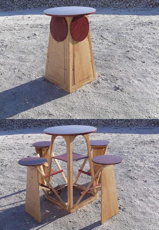 Klapptisch clevere Ideen für klappbare Möbelstücke cleveres Modell Tisch mit angebauten Stühlen platzsparend