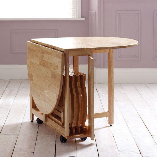 Klapptisch clevere Ideen für klappbare Möbelstücke faltbarer Tisch aus Holz mit Staufunktion