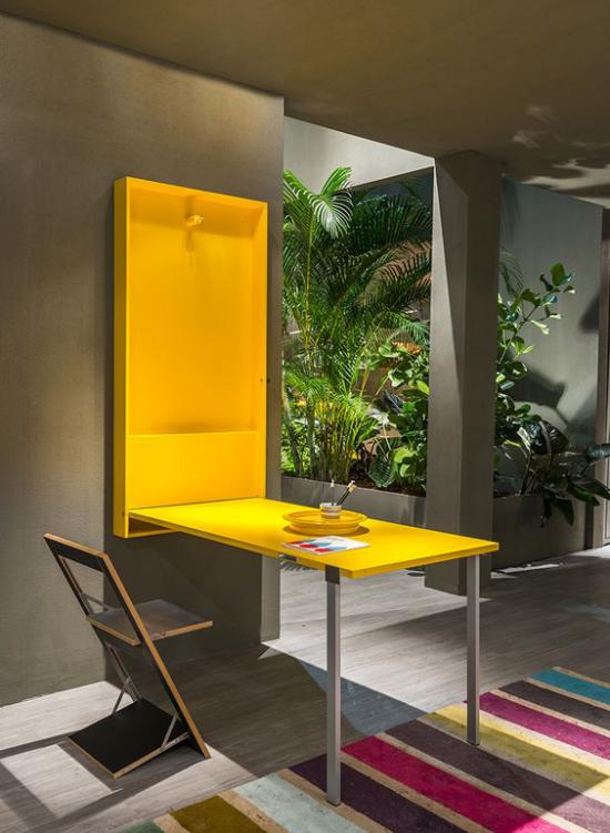 Klapptisch clevere Ideen für klappbare Möbelstücke faltbarer Tisch in Zitronengelb modernes Design