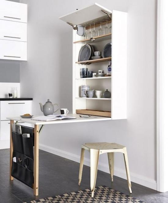 Klapptisch clevere Ideen für klappbare Möbelstücke in der Küche zusätzliche Arbeitsfläche das Gestell aus Holz