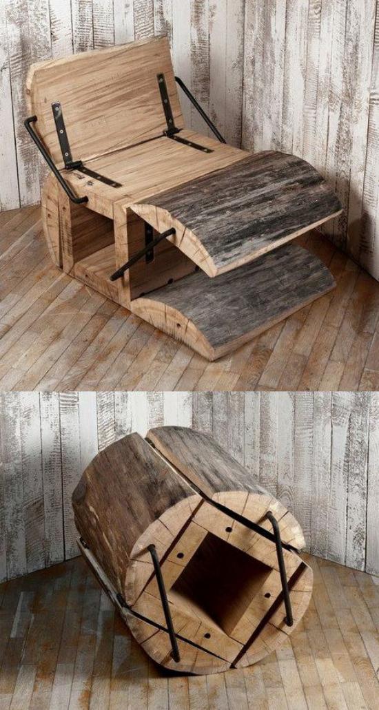 Klapptisch clevere Ideen für klappbare Möbelstücke interessante Bastelidee Sessel aus altem Holz
