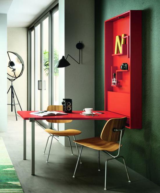 Klapptisch clevere Ideen für klappbare Möbelstücke platzsparend eyecatching in Rot gestrichen
