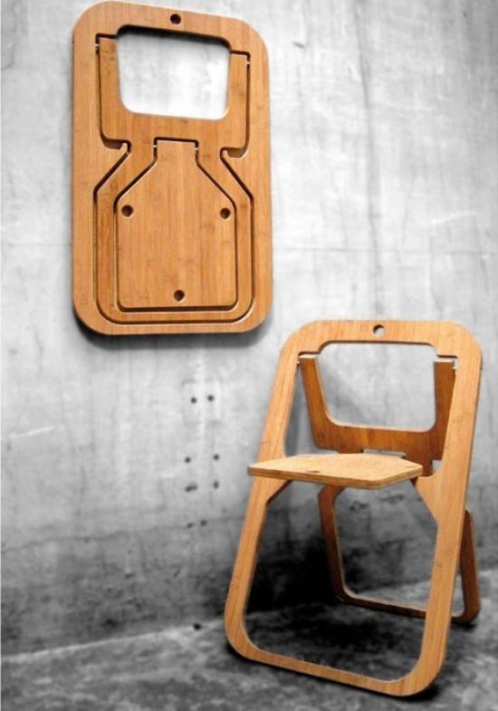 Klapptisch clevere Ideen für klappbare Möbelstücke zwei faltbare Stühle aus Holz