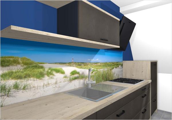 Nischenverkleidung moderne Küchenideen Blau