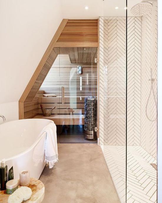 Sauna im Badezimmer Badewanne links Dusche rechts beim Saunabesuch Pfunde schmelzen lassen gesund abnehmen
