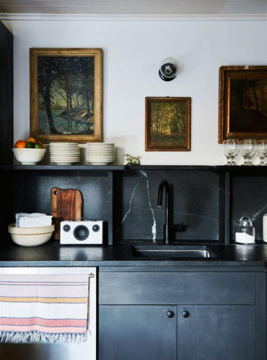 Schwarzer Marmor im Interieur Küche Marmor oder preisgünstige Alternative Imitate