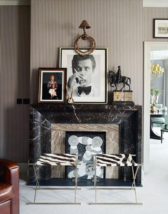 Schwarzer Marmor im Interieur eleganter Look Kamin