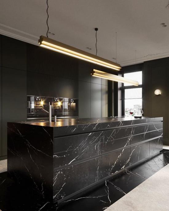 Schwarzer Marmor im Interieur moderne Küche Kücheninsel aus schwarzem Marmor