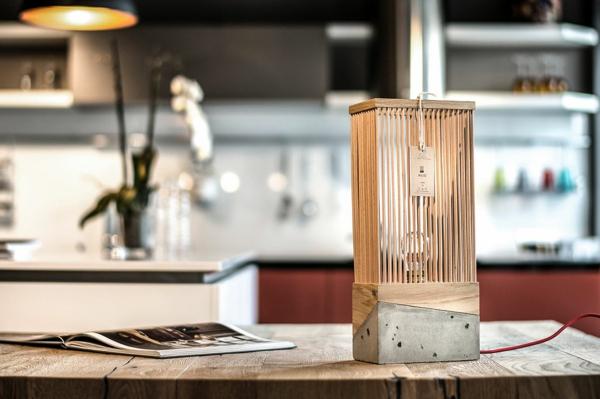 Twig-Betonlampe Tischlampe Beton und Holz