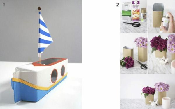 basteln mit kindern schiff aus tetrapack