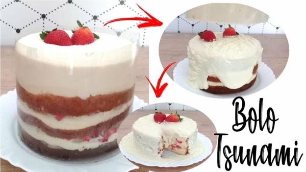 bolo tsunami cake mit erdbeeren