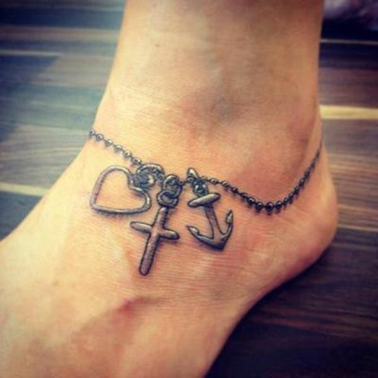 glaube liebe hoffnung tattoo fußgelenk