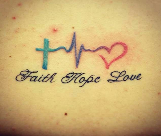 glaube liebe hoffnung tattoo kreuz herzschlag herz
