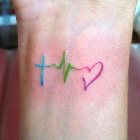 glaube liebe hoffnung tattoo minimalistisch bunt
