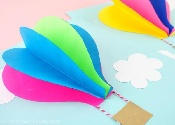 heißluftballons aus papier basteln mit kindern