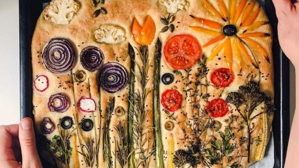 instagram food trend flower focaccia