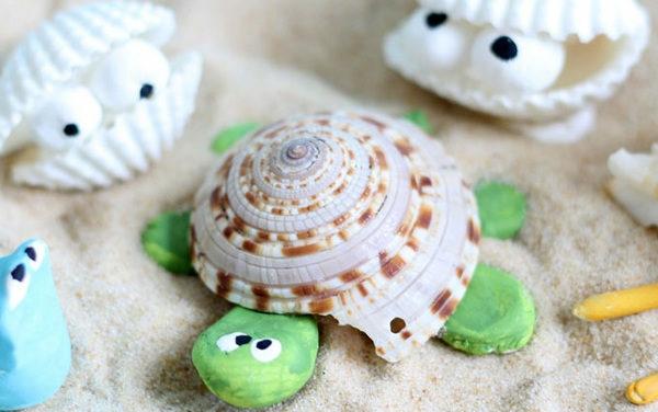 schildkröte aus muscheln basteln mit kindern