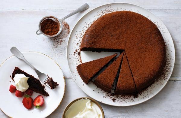 schokoladenkuchen backen olive oil cake himbeeren