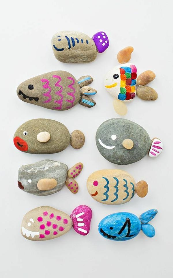 steine bemalen fische basteln mit kindern