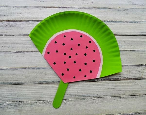 wassermelone aus pappteller basteln mit kindern