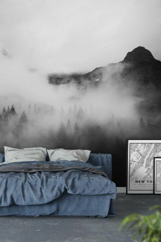 3d fototapeten nebel gebirge schwarz weiß
