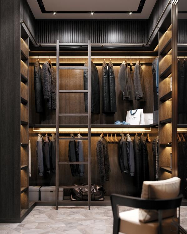 Ankleidezimmer für Männer garderobe mit hemden und anzügen