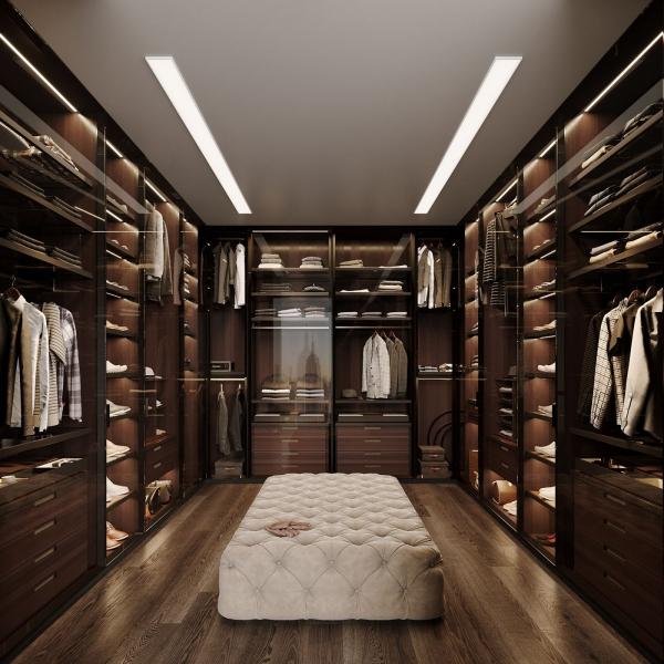 Ankleidezimmer für Männer masculin braun weiß schwarz