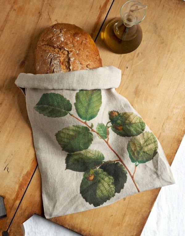 Brotbeutel nähen aus Geschierrtuch Brotbeutel Leinen bemalen
