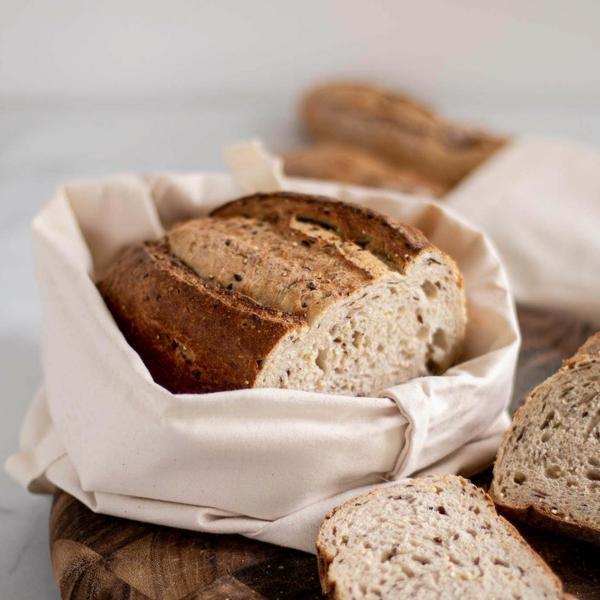 Brotbeutel nähen aus Geschierrtuch Brotbeutel Leinen selber machen