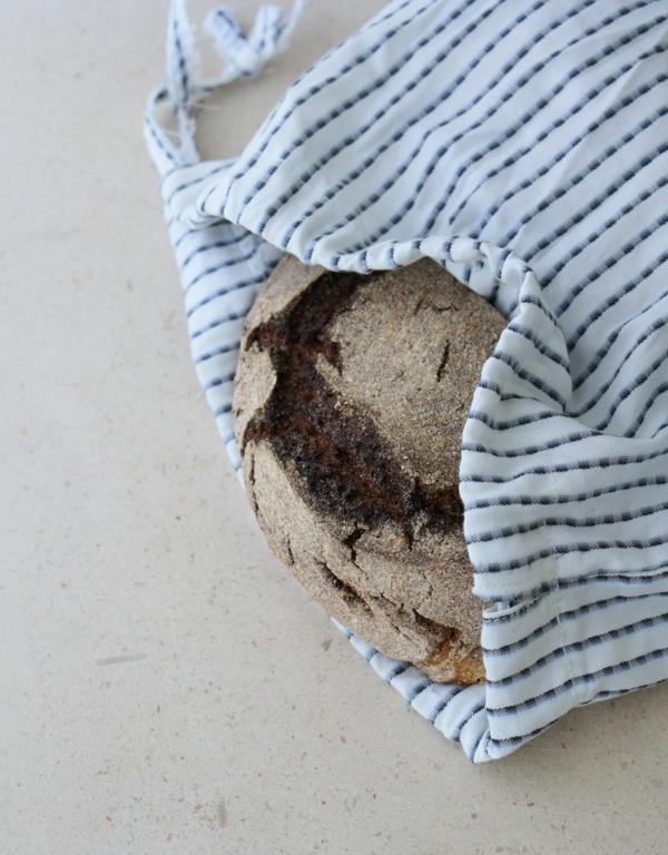 Brotbeutel nähen aus Geschierrtuch Brotbeutel Leinenstoff Streifen
