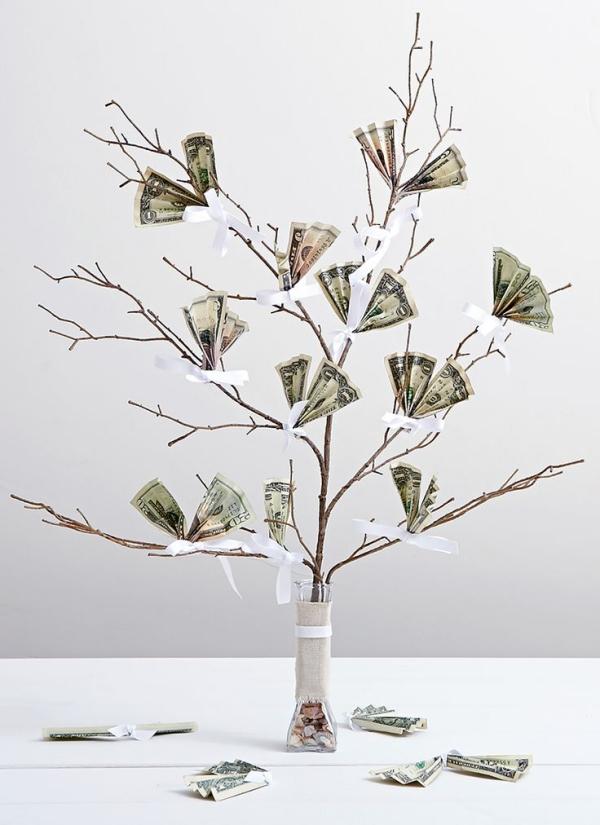 Geldbaum basteln – Kreative Geschenkideen für jeden Anlass ast mit geldscheine blätter