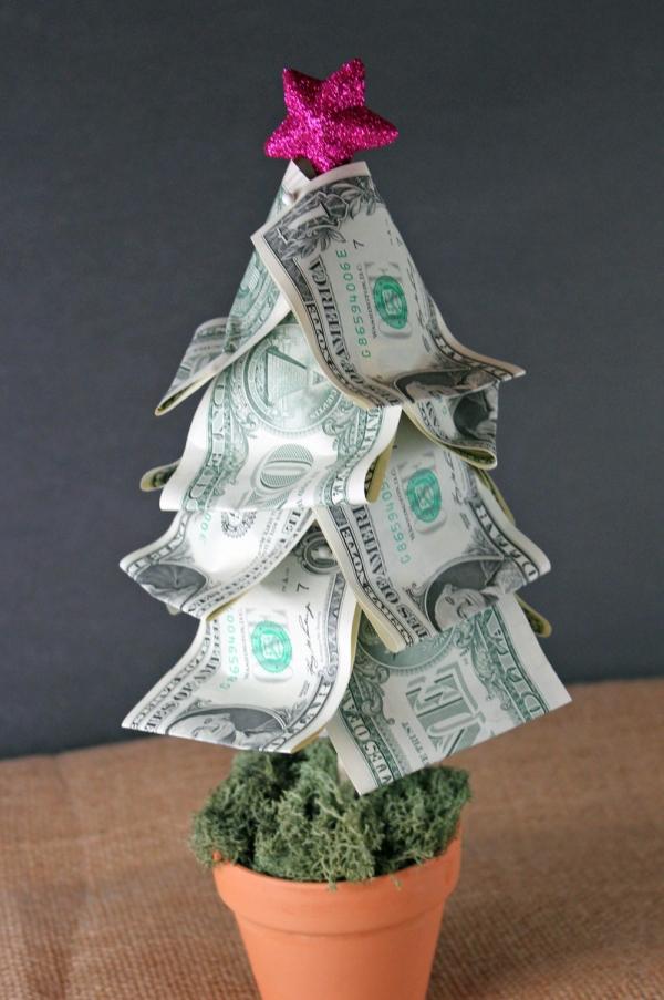 Geldbaum basteln – Kreative Geschenkideen für jeden Anlass weihnachten tannenbaum geldscheine realistisch