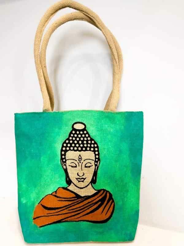 Jutebeutel bemalen Farben praktische Tipps Buddha