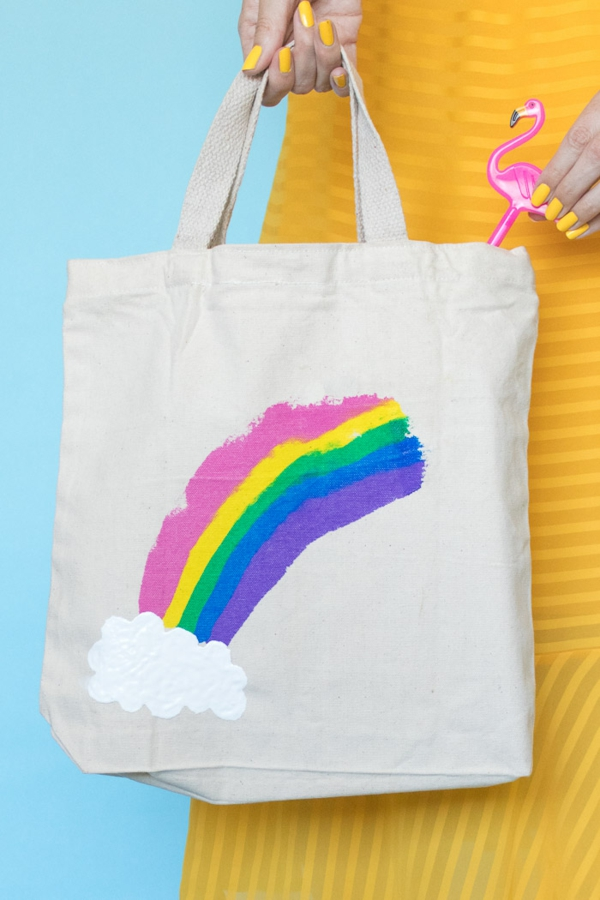 Jutebeutel bemalen Farben praktische Tipps Regenbogen