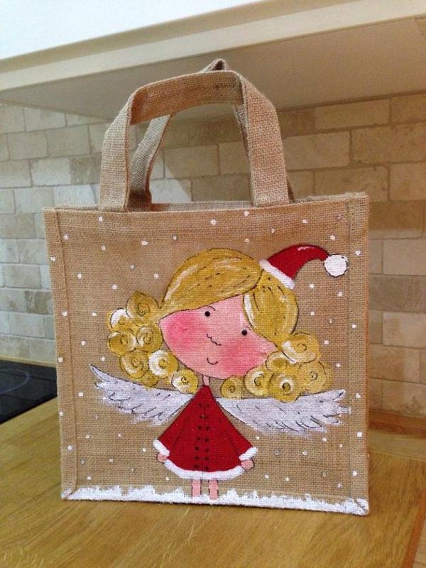 Jutebeutel bemalen Farben praktische Tipps Weihnachten Engel