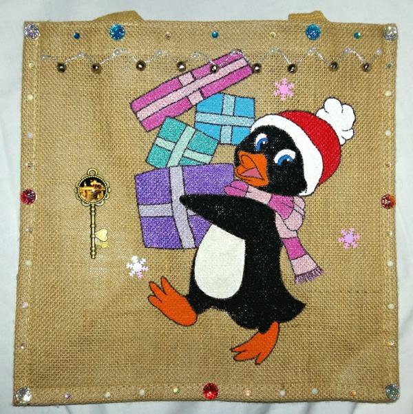 Jutebeutel bemalen Farben praktische Tipps Wihnachten Pinguin