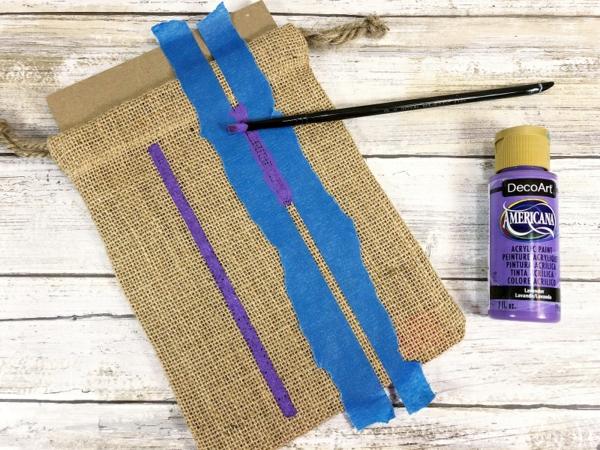 Jutebeutel bemalen Farben praktische Tipps farbige Streifen erstellen