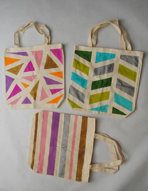 Jutebeutel bemalen Farben praktische Tipps geometrisches Muster
