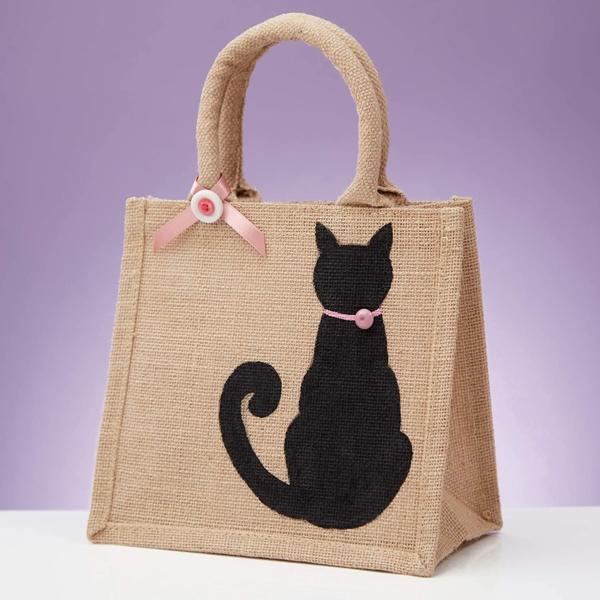 Jutebeutel bemalen Farben praktische Tipps schwarze Katze