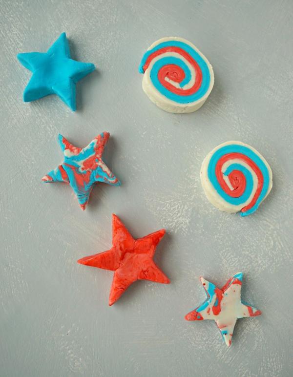 Knetseife selber machen mehrfarbig Sterne Rezept Waschknete