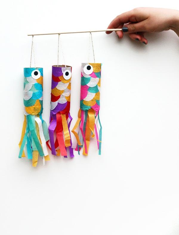 Koinobori Fliegende Fische basteln Japan Kindertag